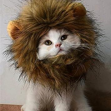 Myfei Otoño Invierno Pet Funny Cute Costume Lion Mane peluca, lavable cómodo disfraz León pelo