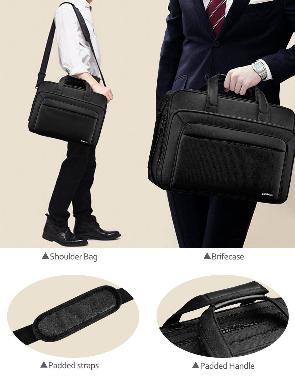 KOPACK Expandable Laptop Briefcase 17 17.3 Inch Large Business Water Resistant Shoulder Computer Bags Black by kopack (Image #7)