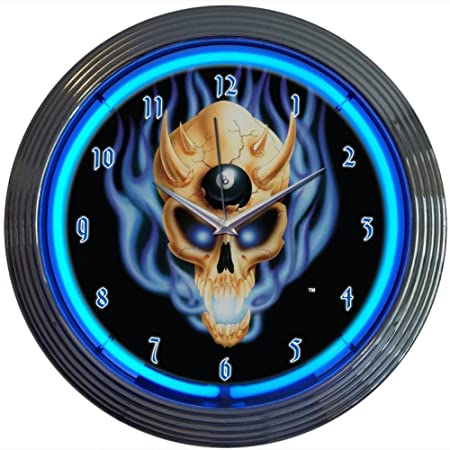 Neonetics 8 Ball Skull Neon Wall Clock, 15-Inch