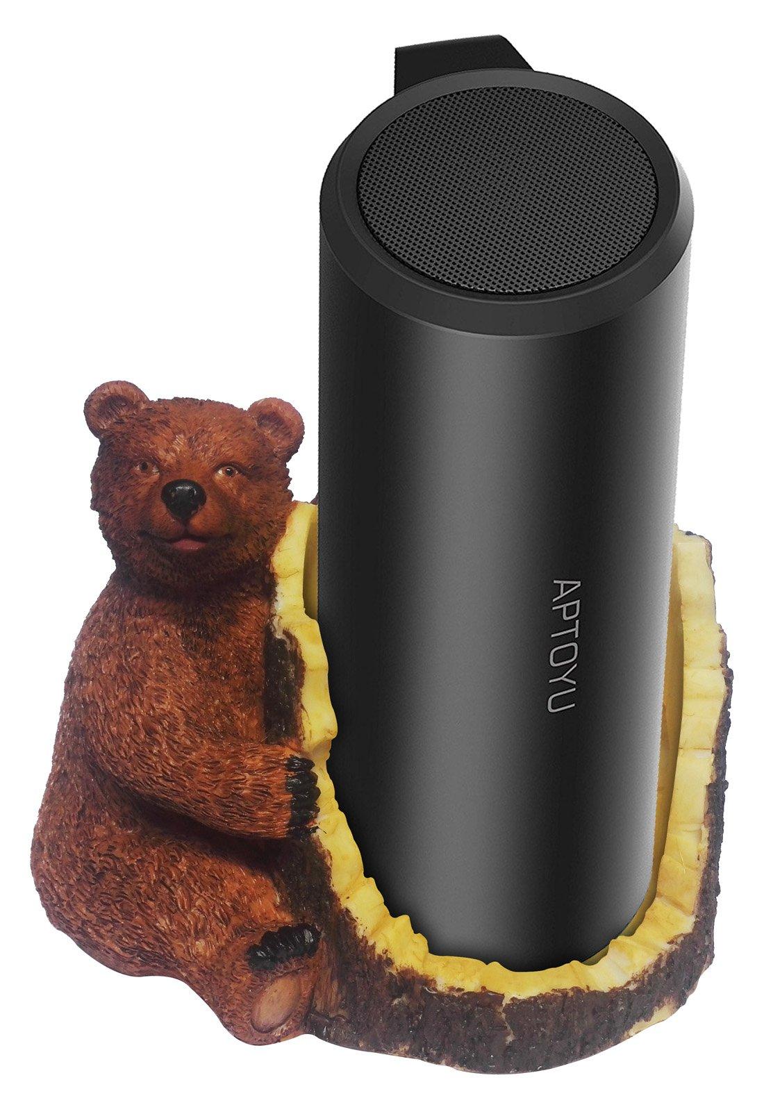 FitSand(TM Brown Bear Crafted Statue Speaker Holder Stand Guard Station for Aptoyu Bluetooth Speaker