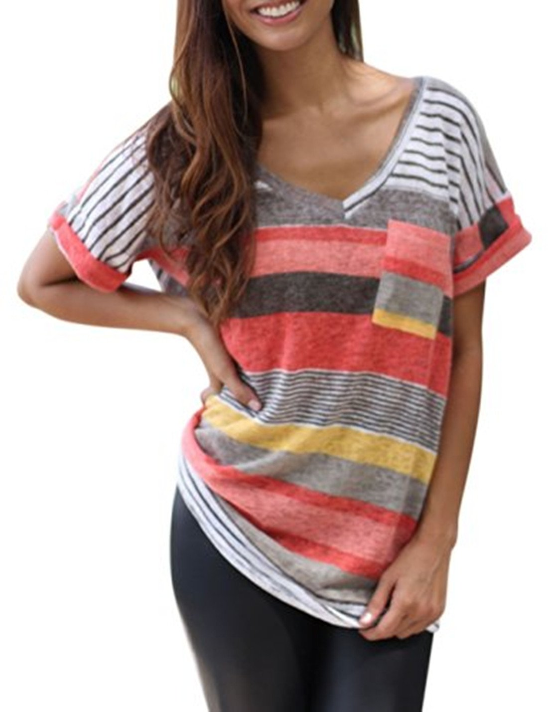 ARESHION Women's V-Neck Striped Casual Short Sleeve T-Shirt Blouse Tees Tops