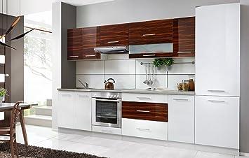 Komplette Küche Petra 320 Cm Verschiedene Farbkombinationen Hochglanz NEU  (weiss / Zebrano)