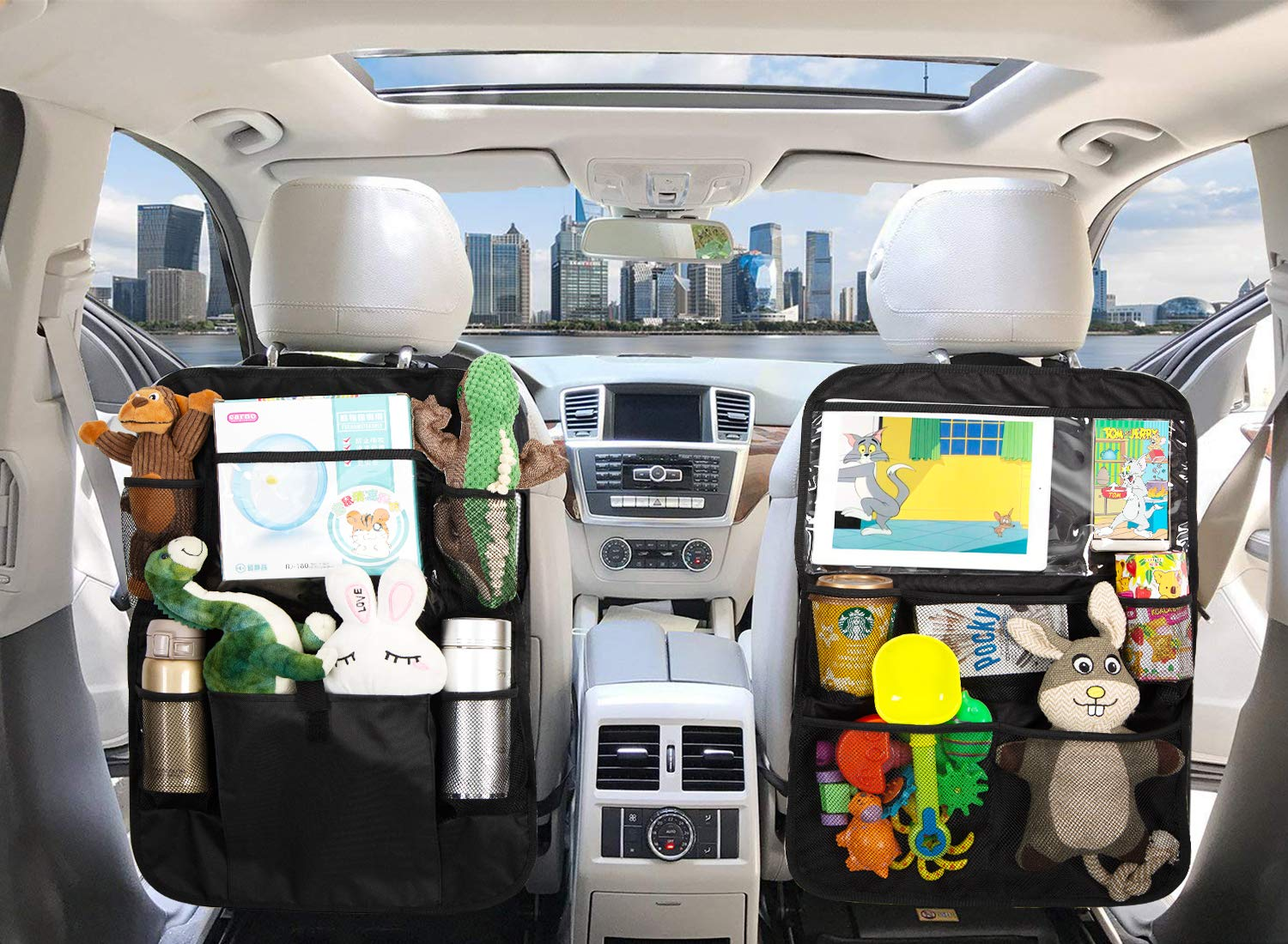 LAurth Backseat Car Organizer with Touch Screen Tablet Holder Multi-Pockets Car Kick Mat for Kids Toys Drink Bottle Drink Vehicles Magazines Storage Seat Back Protectors, 2 Pack by LAurth