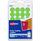 "AVERY Print/Write Self-Adhesive Removable Labels, 0.75"" Diameter, Green Neon, 1008 per Pack (5468)"