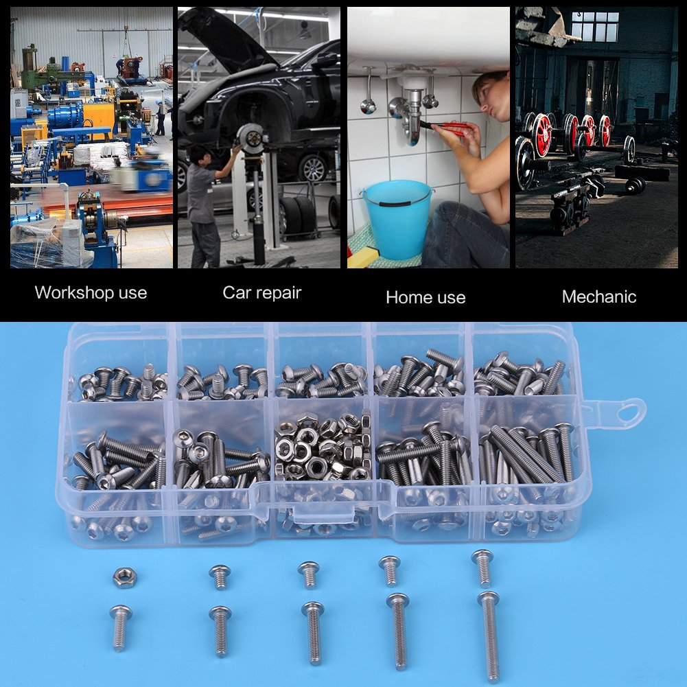 M34//5//6//8//10//12//16//20//25 Stainless Steel Button Head Hex Socket Screws Nuts Machine Home Fastener Tools with Plastic Case for Machinery Industry M3 Button Head Screws Kit