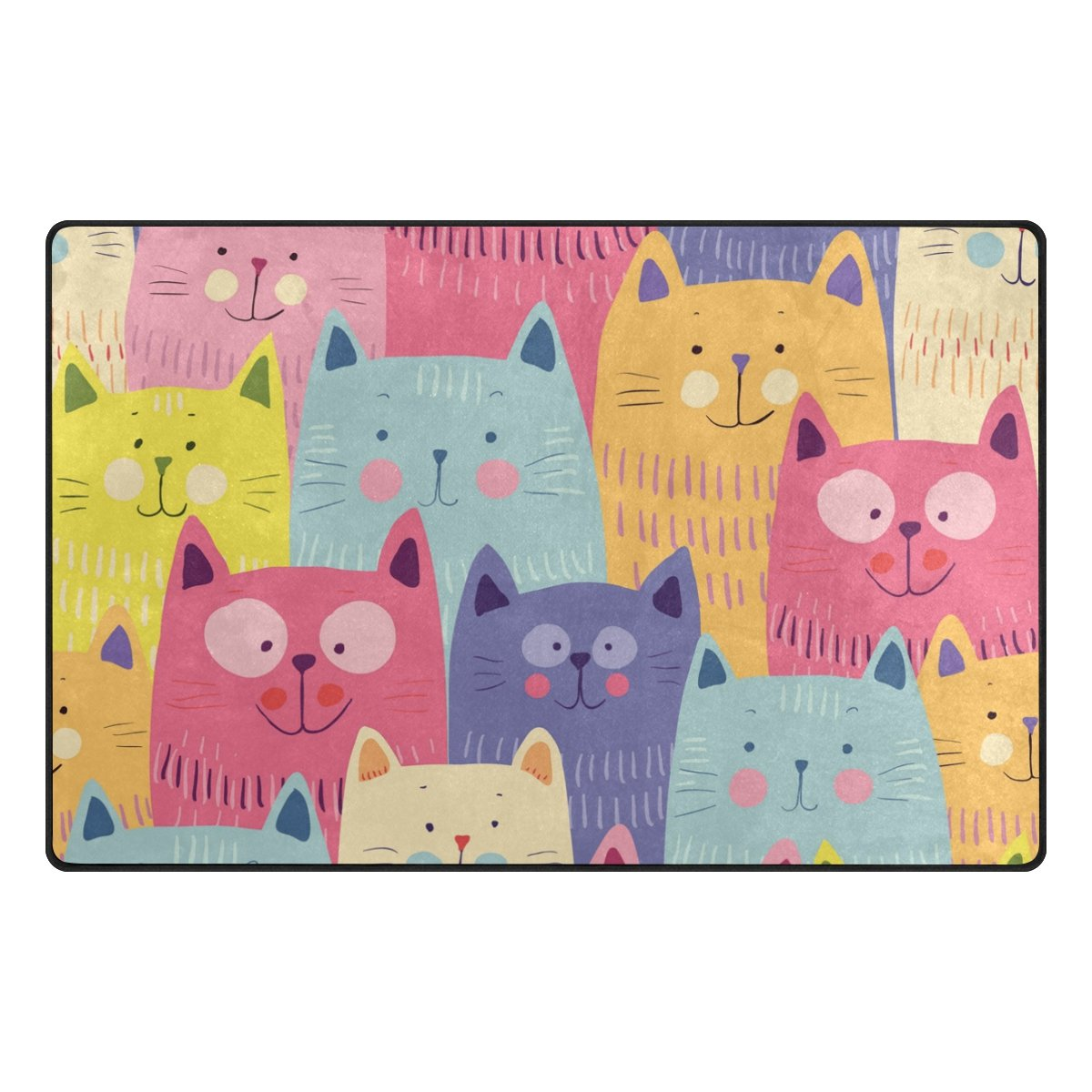ALAZA Funny Cute Cats Colorful Area Rug 20'' x 31'', Door Mat for Living Room Bedroom Kitchen Bathroom Decorative Lightweight Foam Printed Rug