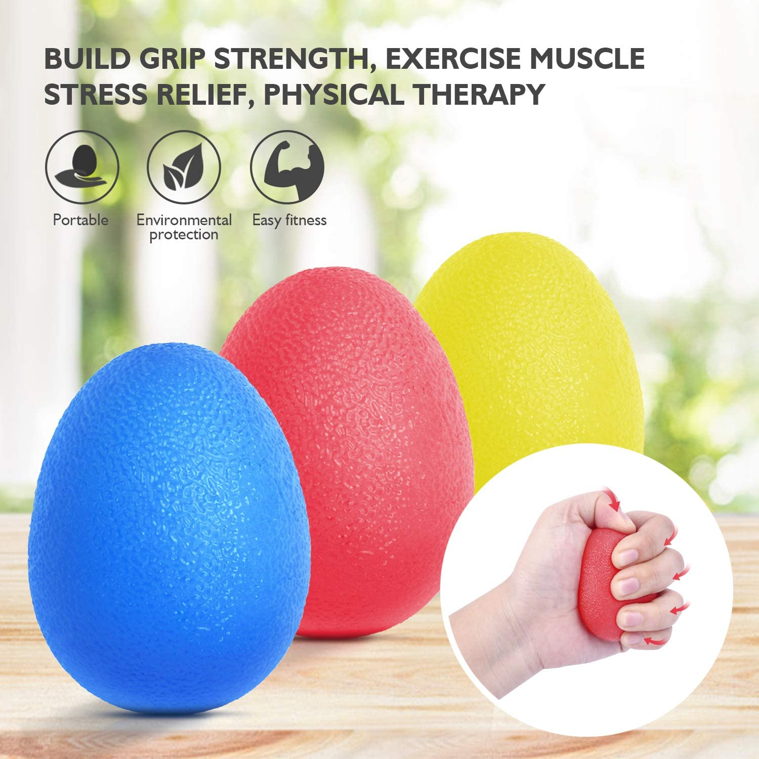 Peradix Hand Grip Strength Trainer, Stress Relief Ball for Adults and Kids, Wrist Rehab Therapy Hand Grip Equipment Ball Squishy – Set of 3 Finger Resistance Exercise Squeezer