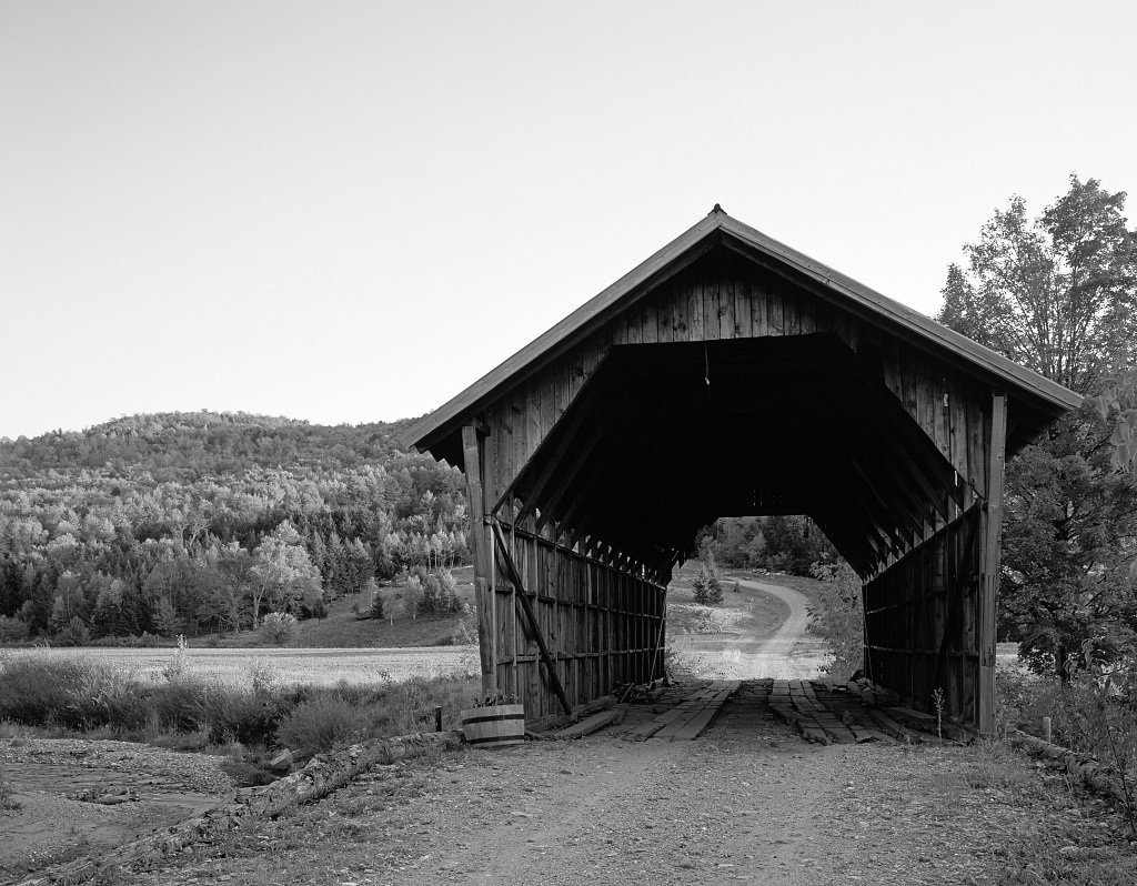 Amazon com vintography 8 x 12 black white photo covered bridge in rural vermont highsmith 64a photographs
