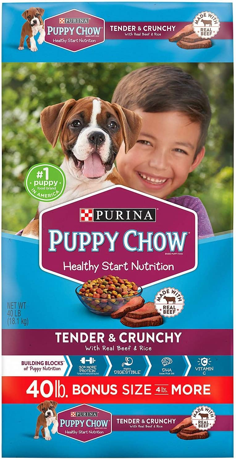Purina Puppy Chow Tender Crunchy Dry Dog Food 40 lb. pack of 2