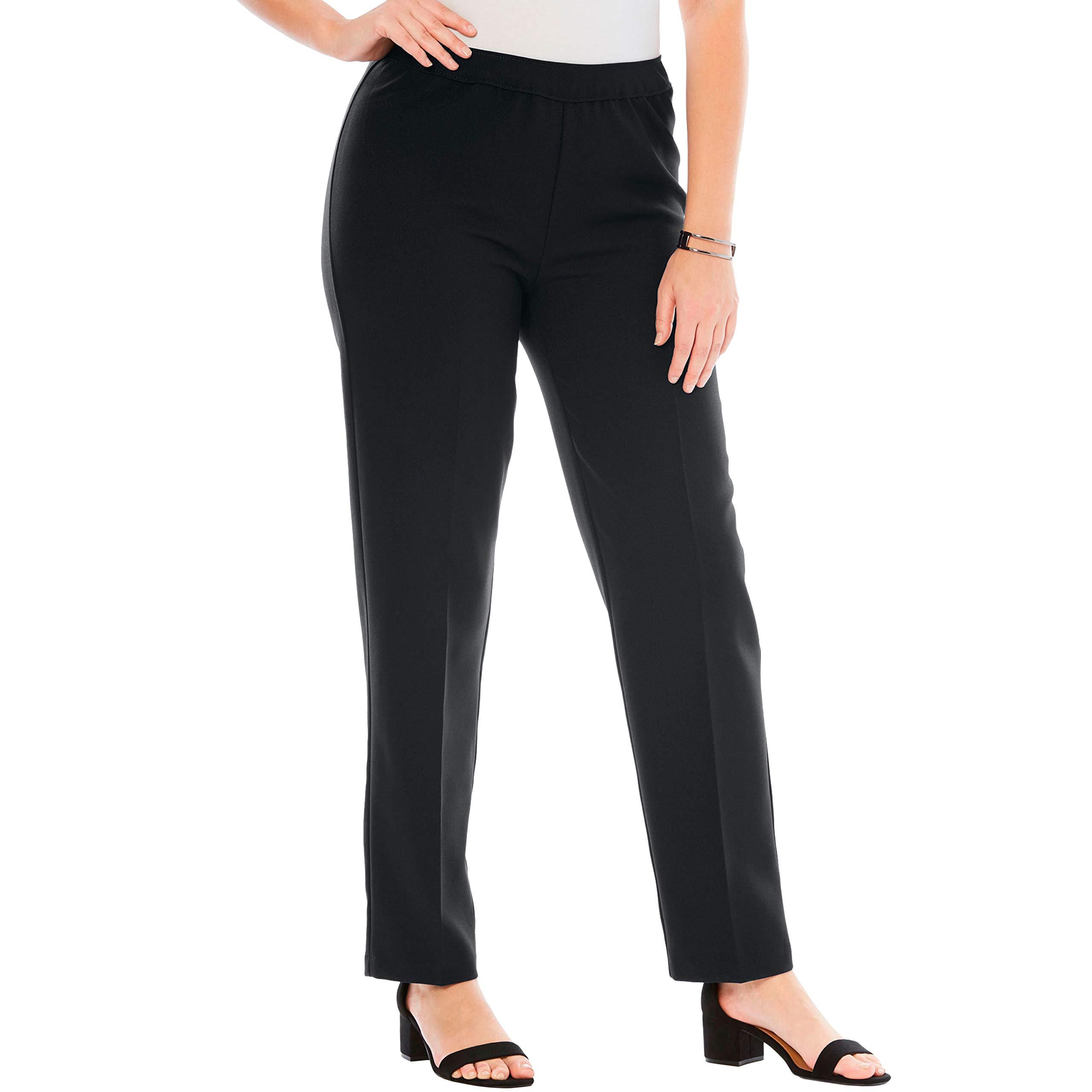 Roamans Women's Plus Size Petite Bend Over Classic Pant - Black, 20 WP by Roamans