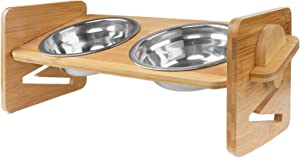 Adjustable Bamboo Raised Pet Bowl, Elevated Dog Cat Food and Water Bowls Stand Feeder, Poultry Feeder with 2 Stainless Steel Bowls New