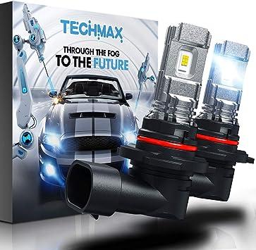 TECHMAX 9005 LED Fog Light Bulbs,HB3 DRL 6000K Xenon White 2800LM 60W 320°Beam Angle Pack of 2.