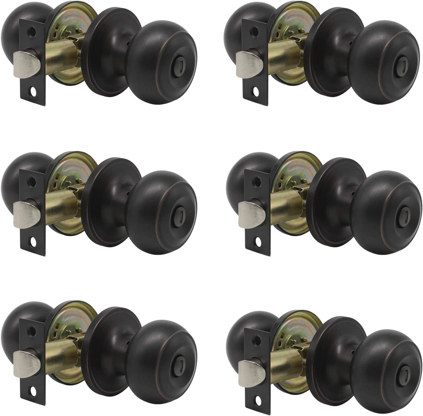 6 pack Probrico Interior Bathroom Privacy Keyless Doorknobs Door Lock Lockset 609-ORB-BK in Oil Rubbed Bronze