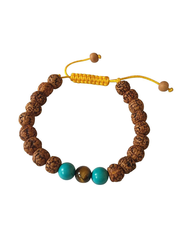 Tibetan Mala Tiger Eye Wrist Mala/bracelet for Meditation (Rudraksha with Turquoise) Hands of Tibet