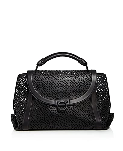 c96a17b469 Amazon.com  Salvatore Ferragamo Large Soft Sofia Leather Satchel Black Grey  Laser Cut Handbag Bag New  Shoes