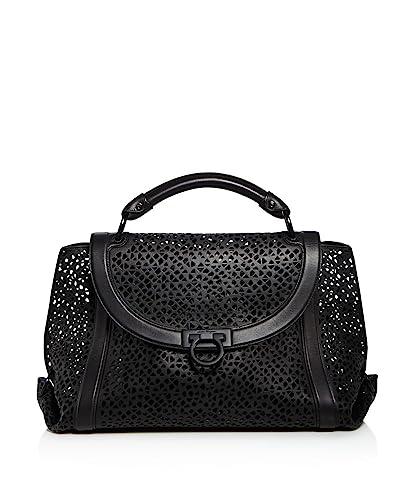 969e2fbc6ec1 Amazon.com  Salvatore Ferragamo Large Soft Sofia Leather Satchel Black Grey  Laser Cut Handbag Bag New  Shoes