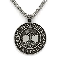 TTKP Norse Vikings Runes Amulet Pendant Necklace The Tree Of Life Runes Pendant Necklace Nordic Talisman