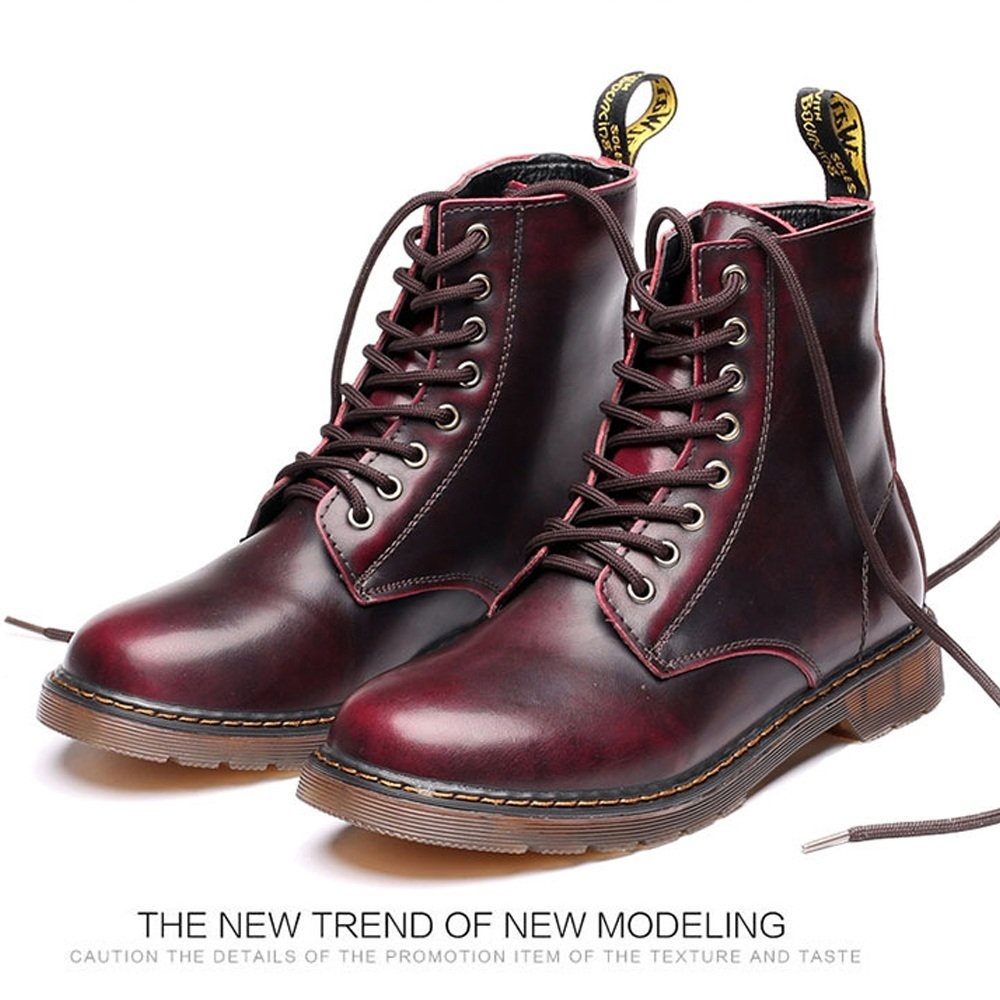 Lederschuhe Herrenschuhe Klassische Leder Schnürschuhe Oxfords High Top Boots für Herren Red