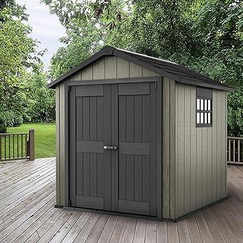 kete Cobertizo de jardín para almacenamiento al aire libre de madera, plástico sostenible resistente a
