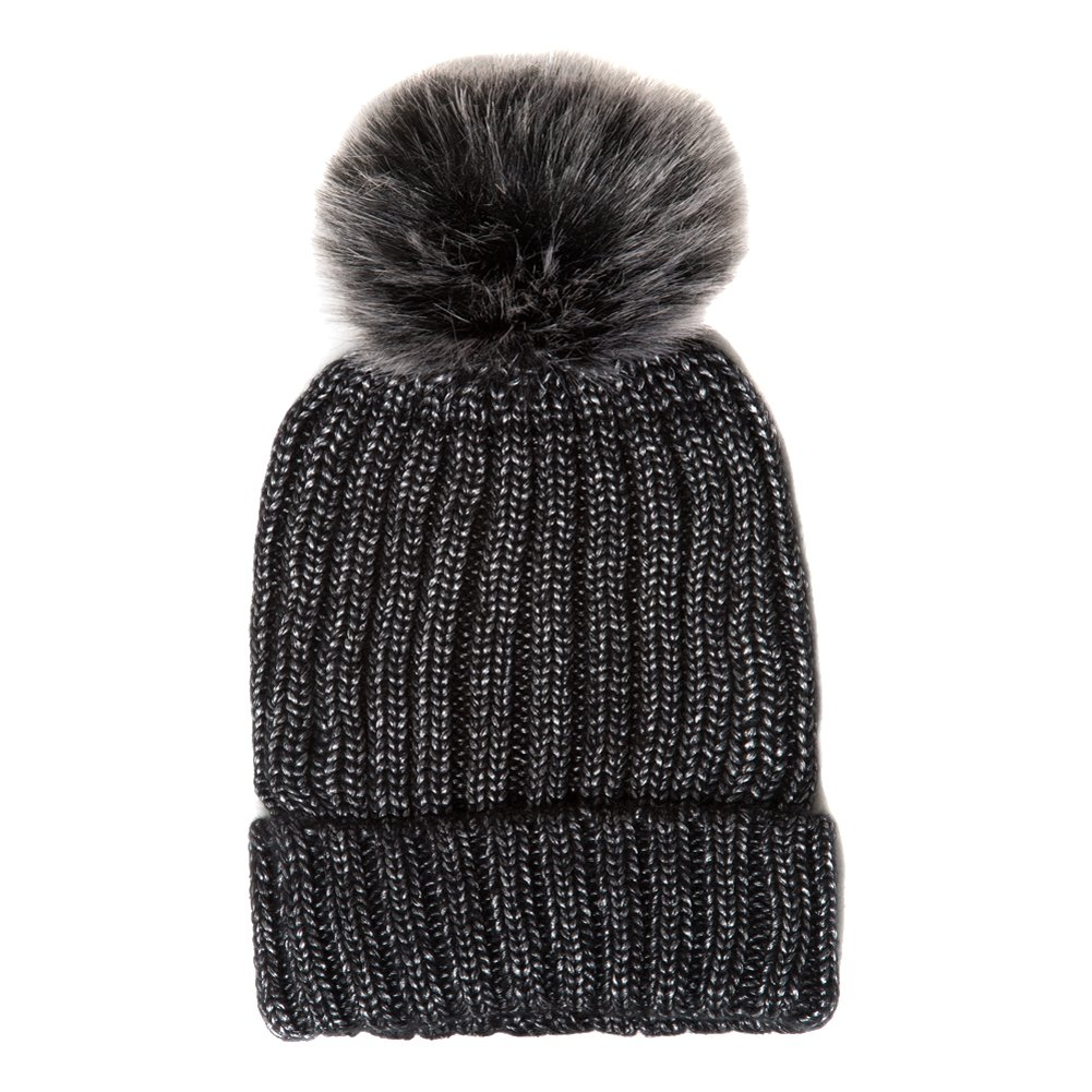 a03d4fb3945 Accessoryo Unisex Grey Knitted Beanie With Monochrome Contrast Pom Pom at  Amazon Women s Clothing store