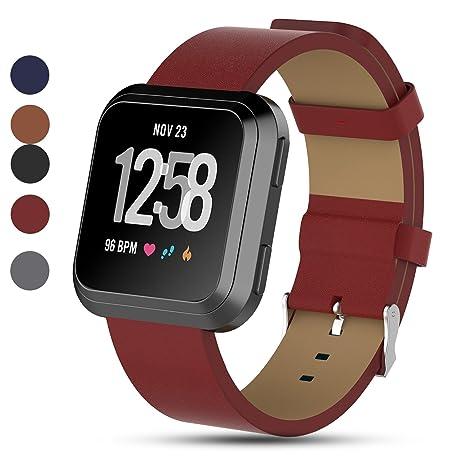 iFeeker - Bracelet de rechange en cuir véritable pour montre connectée Fitbit Versa Fitness Taille unique Red: Amazon.fr: Sports et Loisirs