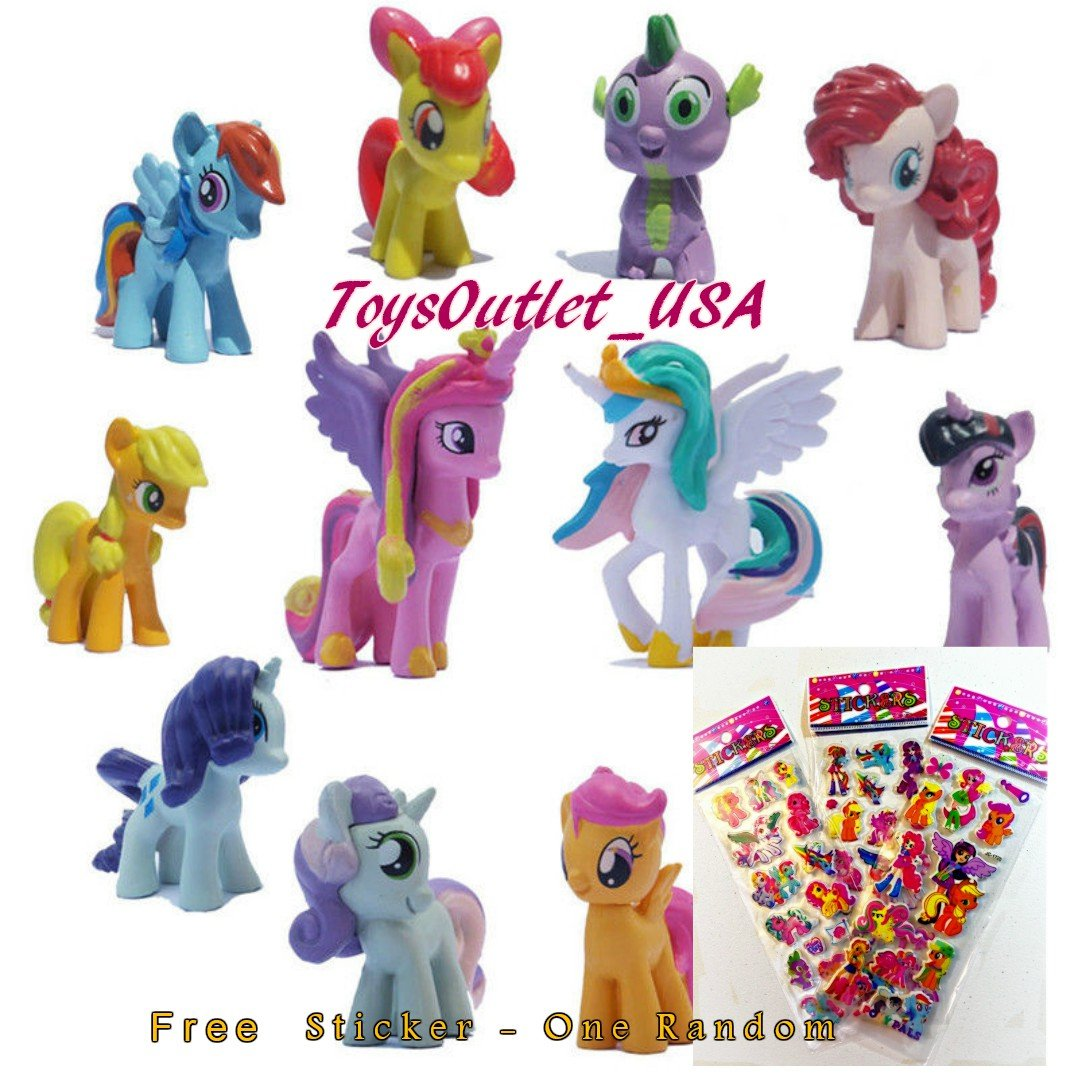 My Little Pony Set 12 pcs Toys | PVC Mini Figure Collection Playset | Kids Decor Cupcake Topper + Pony Stickers by My Little Pony (Image #2)