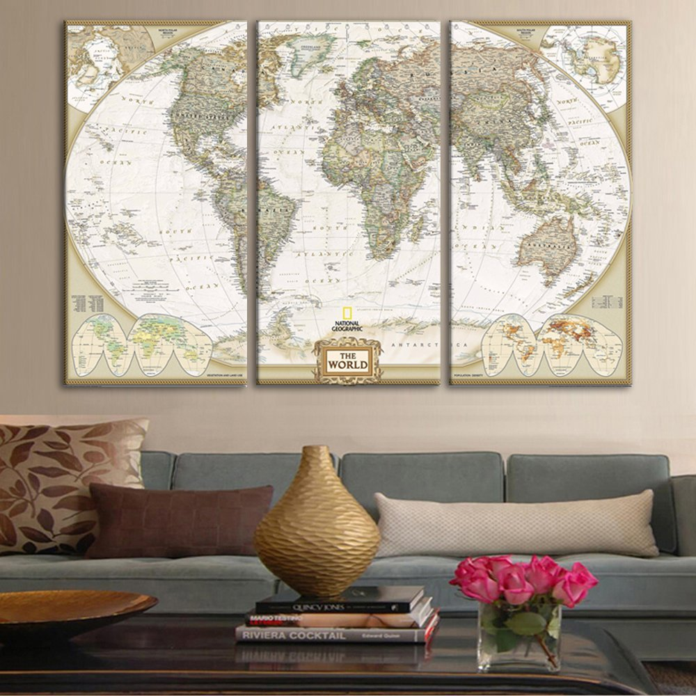 Yatsen Bridge Painting for Living Room School Home Decor 3 Panels Canvas Wall Art Paintings Prints and Poster Globe Continents World Map Pictures Stretched and Framed Office Artwork(28''H x 42''W)