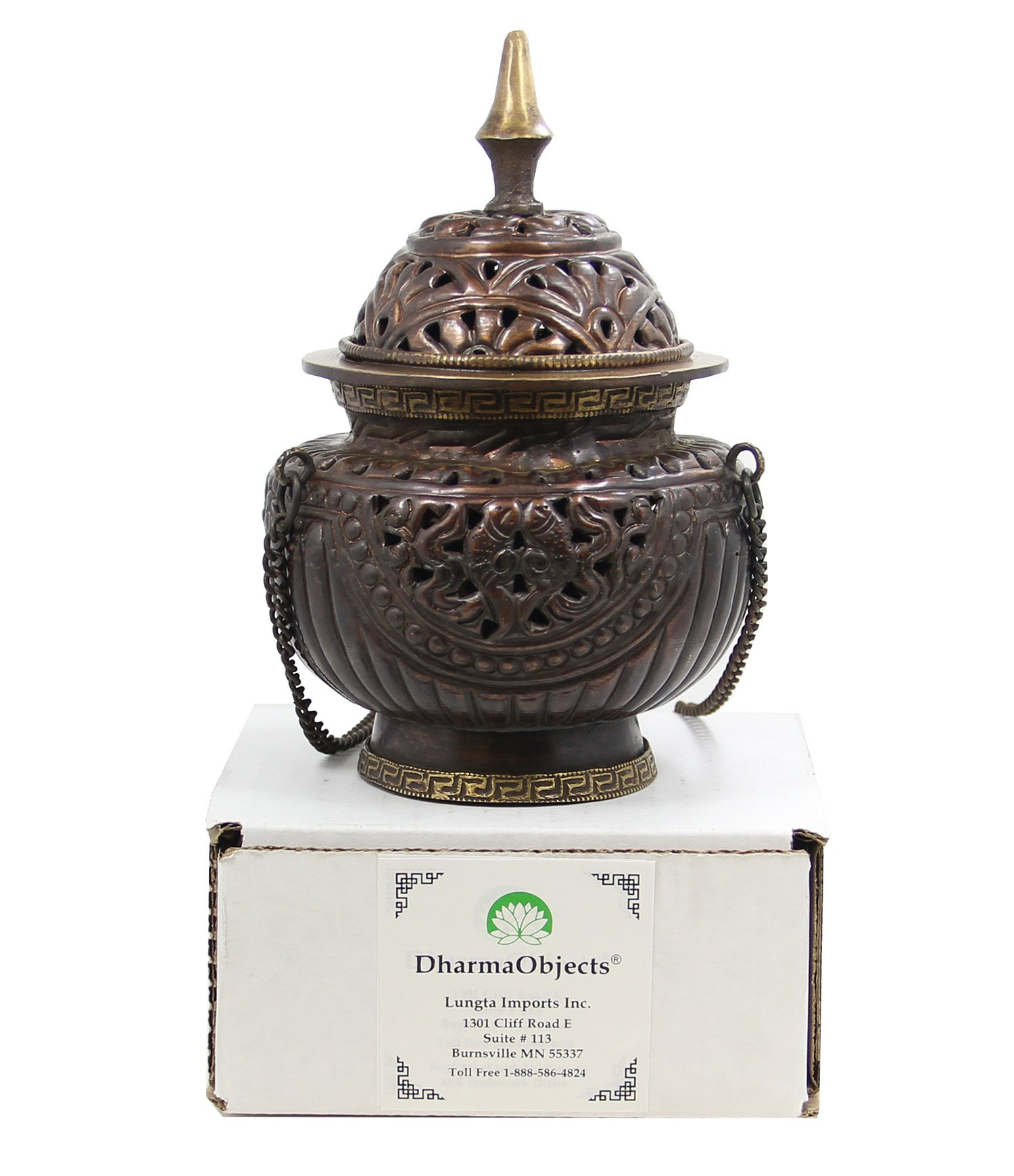 DharmaObjects Tibetan Hanging Incense Burner ~ Copper w/Tibetan Symbols ~ 6'' High by DharmaObjects (Image #4)