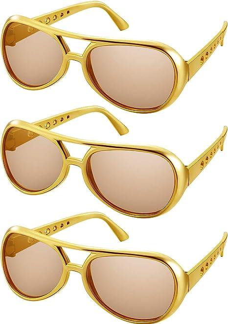 Gafas de Sol Rockstar Gafas de Sol Rock Gafas de Sol con Montura Dorada de Los Años 50 y 60 (Estilo de Marco Dorado, 3 Pares): Amazon.es: Juguetes y juegos