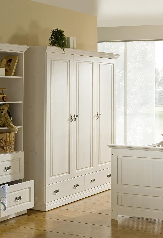 SAM® Kleiderschrank Odette Kiefernholz Kinderzimmer weiß 3 Türen Einlegeboden Babyzimmer 188 cm hoch Lieferung mit Spedition teilzerlegt
