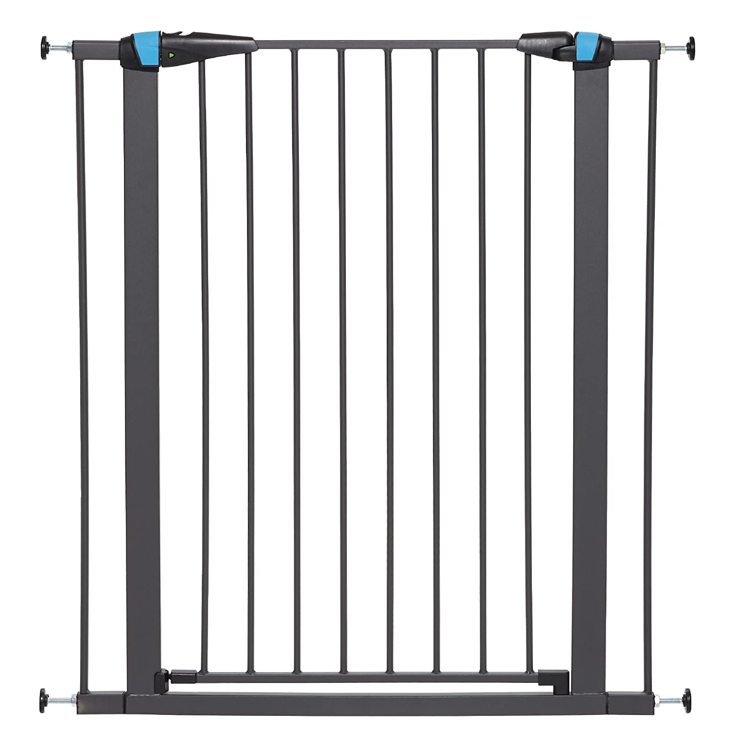 "MidWest Homes for Pets Walk-Thru Steel Pet Gate w/Safety Glow Frame; 29"" & 39"" Tall Pet Gates in Soft White & Textured Graphite"