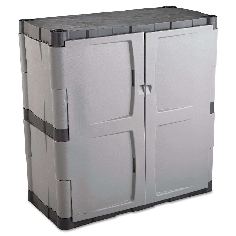 amazoncom rubbermaid commercial doubledoor storage cabinet base 36w x 18d x 36h grayblack home u0026 kitchen