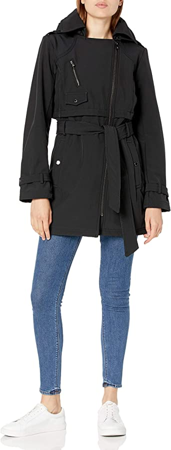 Steve Madden womens Asymmetrical Zip Softshell Jacket