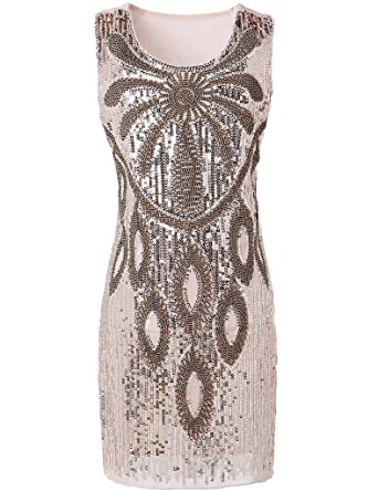 Hblld Womens Waistcoat Sequined Cocktail Party Prom Dress Ball Gowns Beige