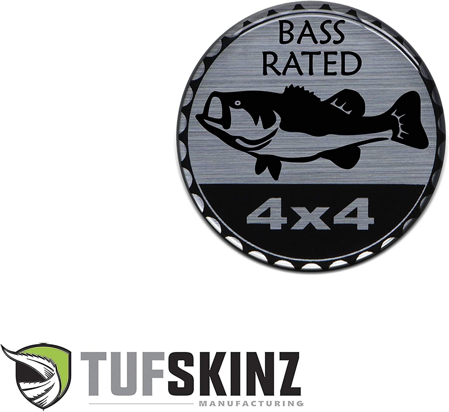 Compatible with Jeep 1 Piece Animals, Bass Rated Rated Badge TufSkinz Brushed Silver