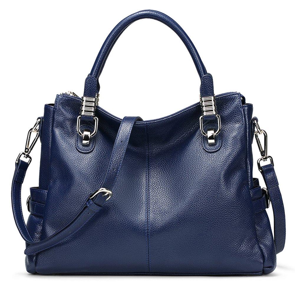 Womens Genuine Leather Handbag Urban Style Satchel Tote Bag Vintage Shoulder Top-Handle Crossbody Handbags Large Capacity