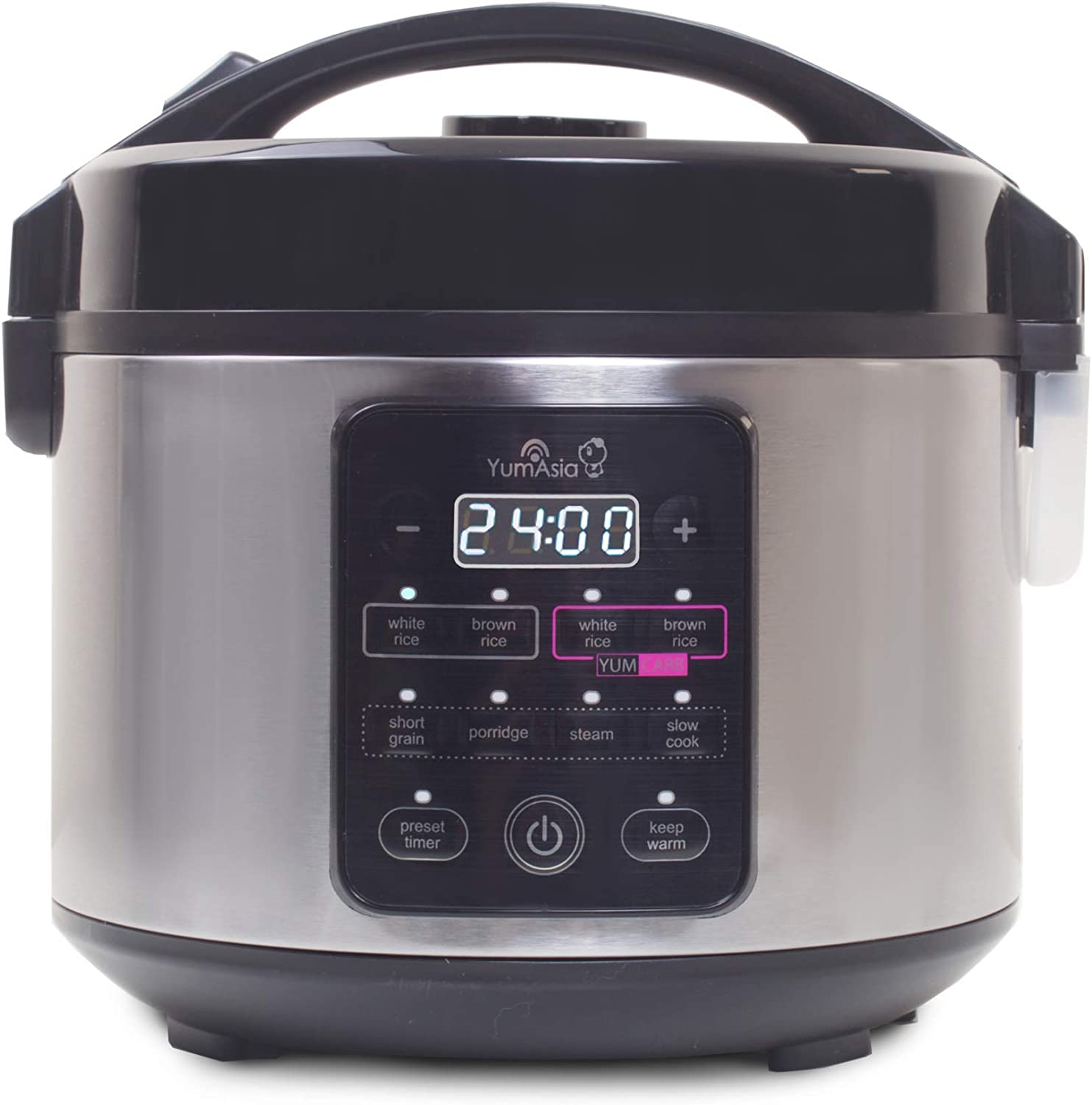 Yum Asia Kumo YumCarb Rice Cooker with Ceramic Bowl and Advanced Fuzzy Logic, (5.5 Cups, 1 Litre), 5 Rice Cooking Functions, 3 Multicooker Functions, 220-240V UK/EU Power (Light Stainless Steel)