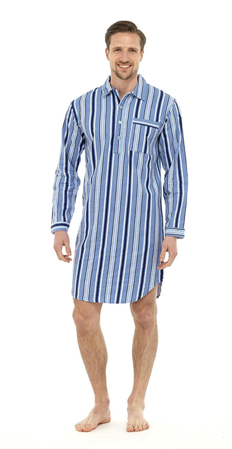 Mens Traditional Nightshirt Flannel PJ Pyjama Night Shirt Wear Pyjamas Cotton Gensen