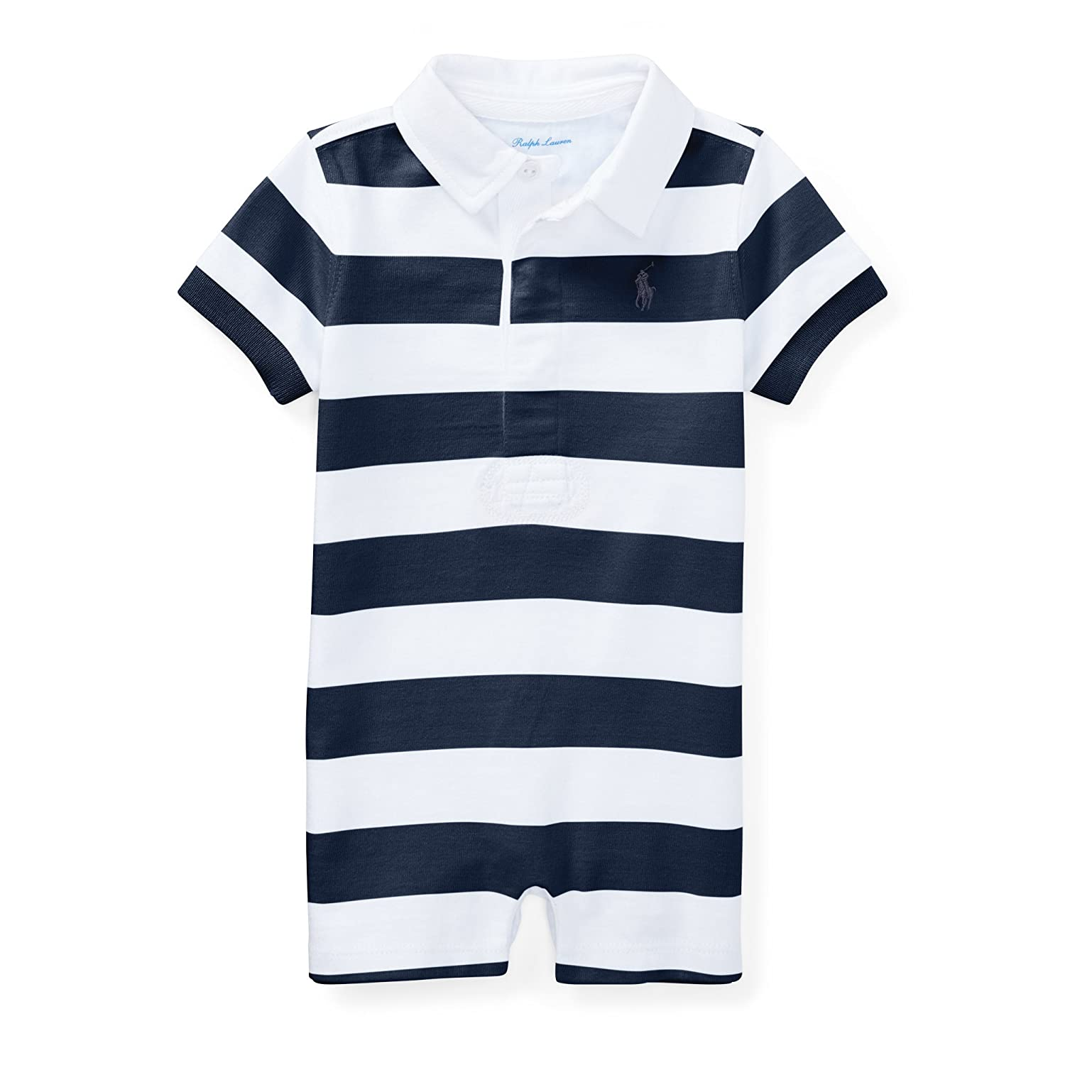 Ralph Lauren Baby Boys Striped Cotton Rugby Shortall Summer Navy/White)