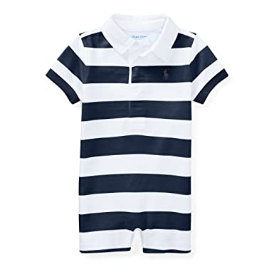 13fd0f795 Amazon.com  RALPH LAUREN Baby Boys Striped Cotton Rugby Shortall (24 ...