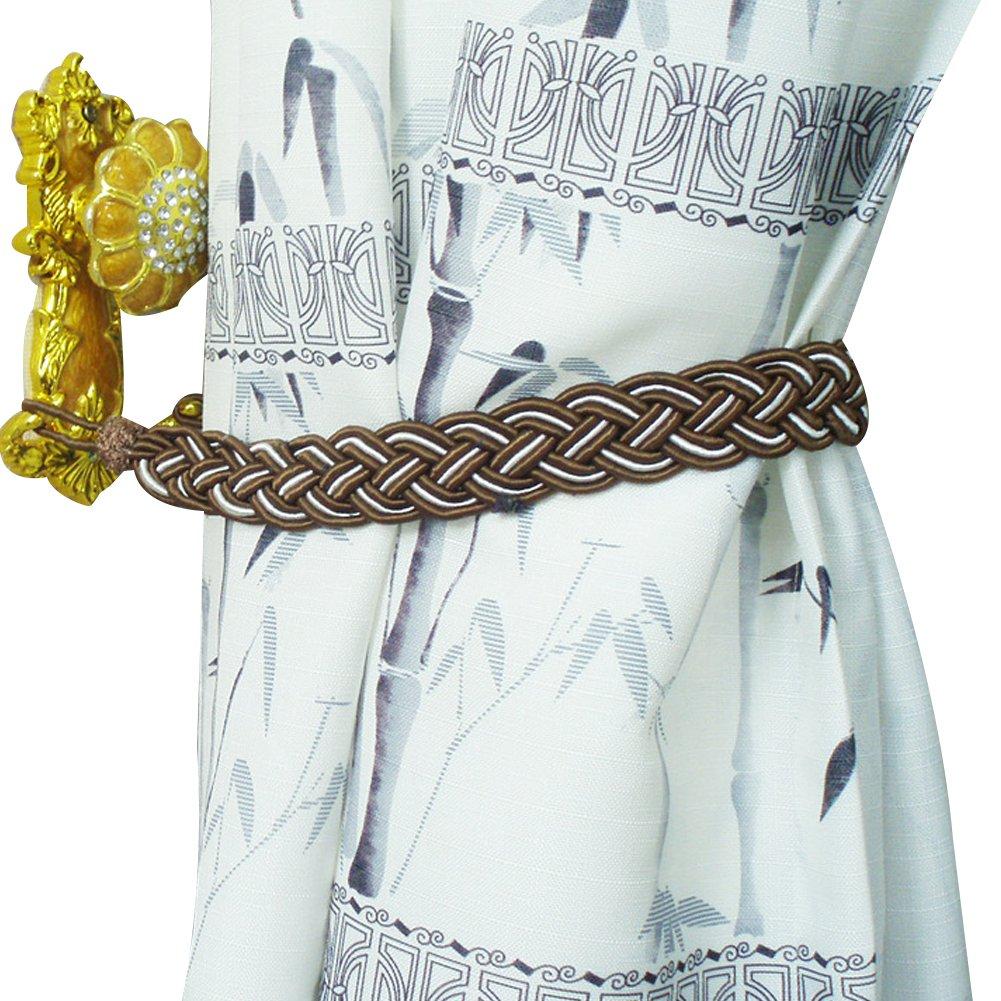 2 Pairs, Beige KUTLIF Window Rome Curtain Tie backs Cord Rope Buckle Braided TieBacks