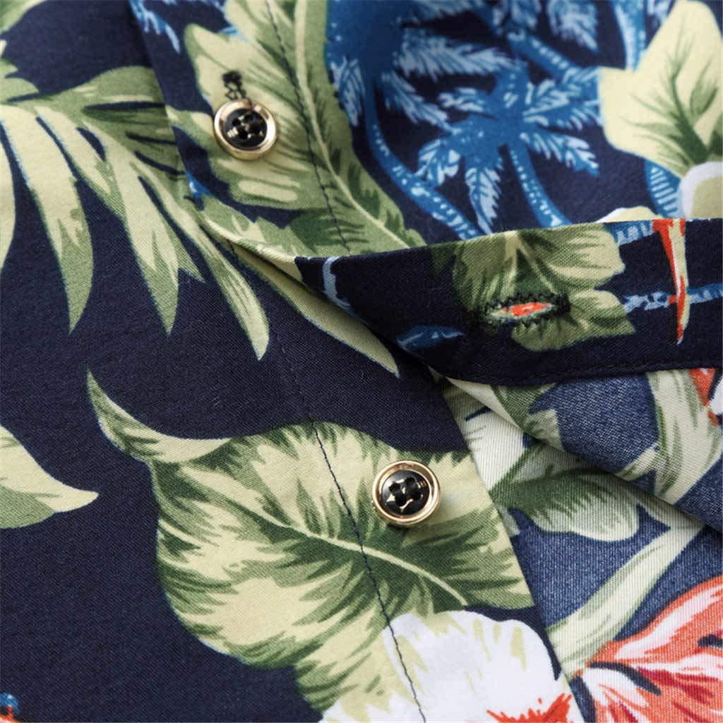 Mens Shirt Stylish Slim Fit Hawaiian Shirt Button Down Long Sleeve Floral Shirt Casual Button Down Dress Shirt