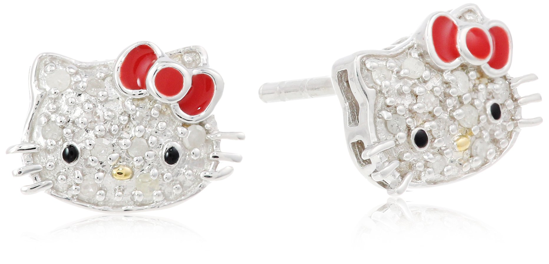 Hello Kitty Sterling Silver 0.10cttw Diamond and Red Enamel Bow Earrings