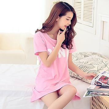 paciffico mujeres verano suelto de manga corta dormir pijamas falda rosa patrón algodón vestido largo de