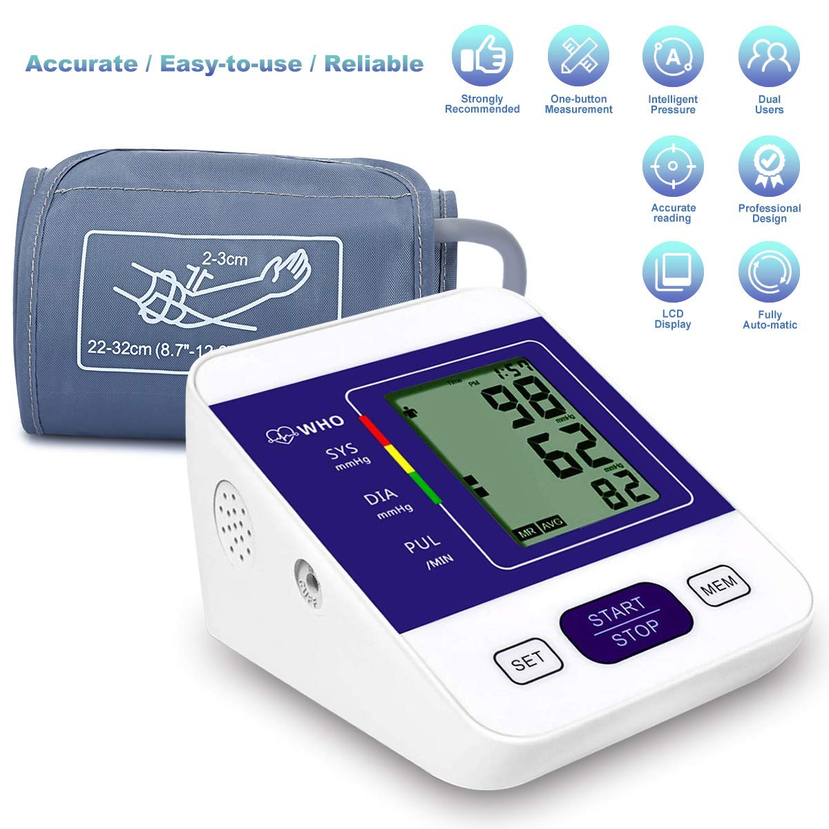 Blood Pressure Monitor, CAZON Wireless Upper Arm Blood Pressure Monitor Digital Hypertension Detector Automatic Heart Rate Pulse Monitor with Large Screen Display Home Use Care Device