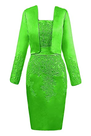 6b2bcd7c547 DINGZAN Vintage Sheath Mother of The Bride Dresses with Long Sleeves Jacket 2  Apple Green