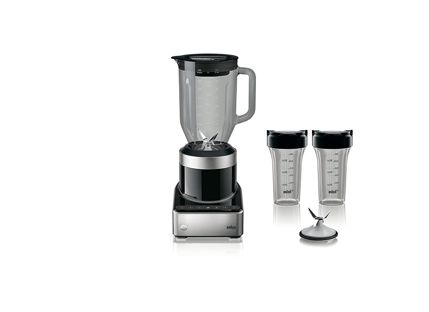 Braun JB7352 BKS PureMix Power Countertop Blender with Glass Jug & Smoothie2Go Cups 56 fl. oz Black