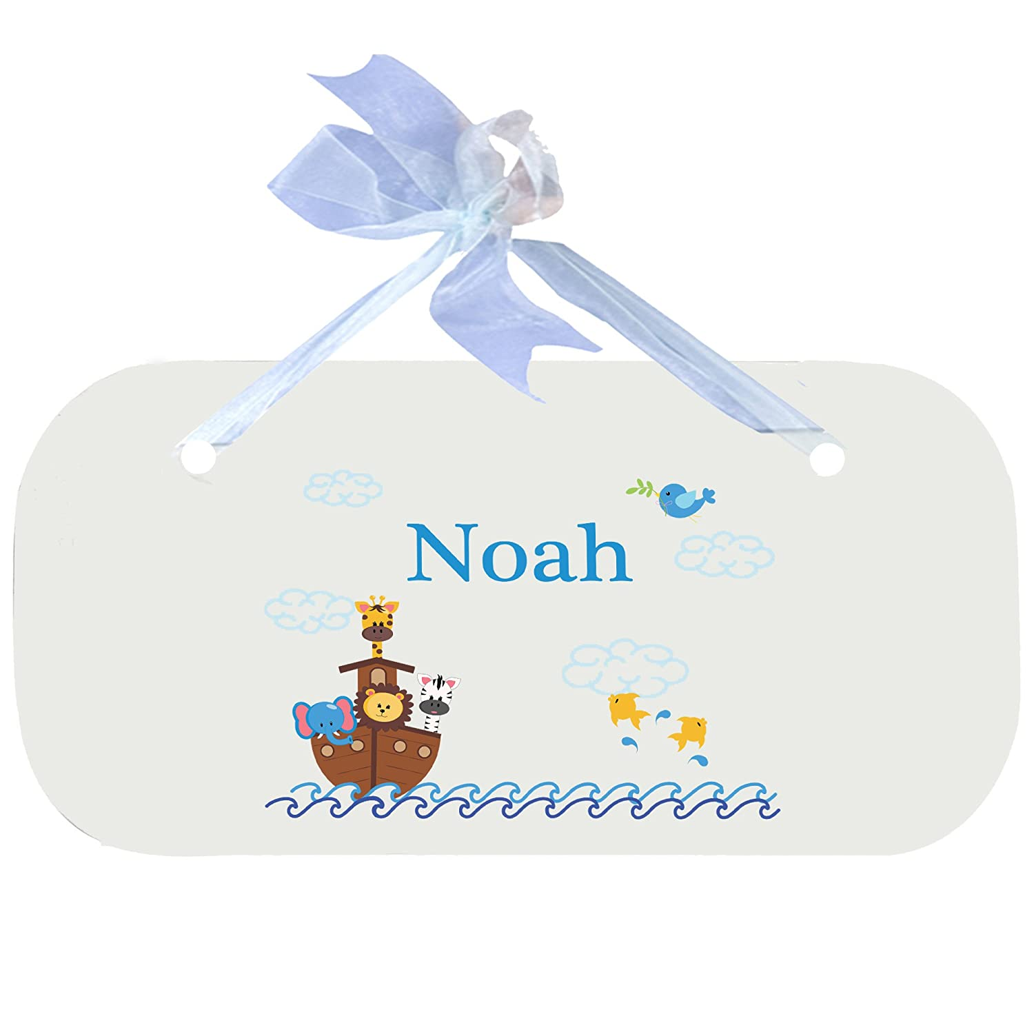 Personalized Noahs Ark Nursery Door Hanger Plaque with blue ribbon MyBambino