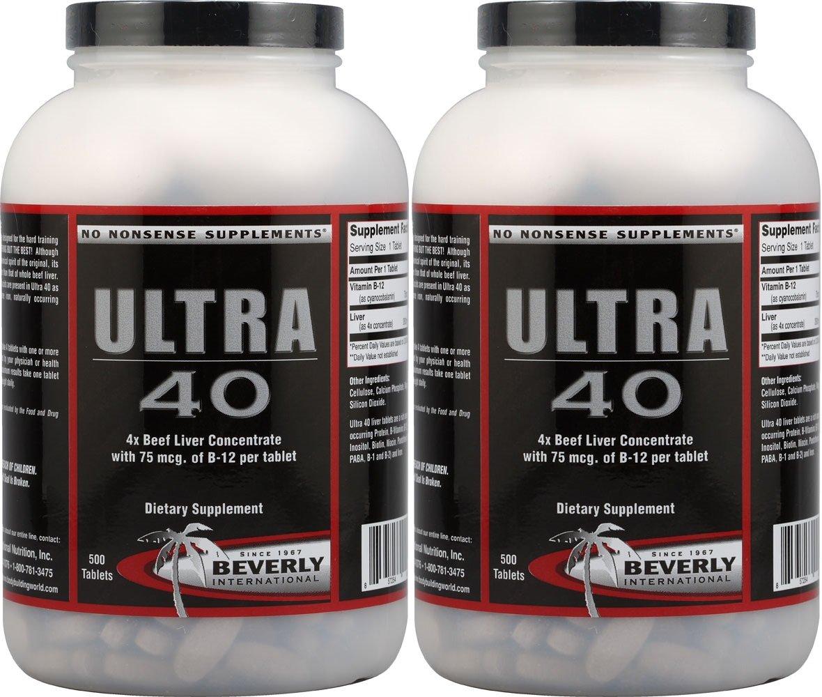 Beverly International Ultra 40, 100% Beef Liver, 500 Tablets (2 Pack)