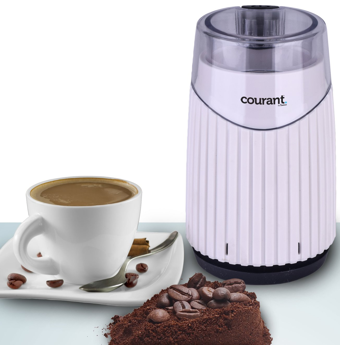 Courant Electric Coffee Grinder, Stainless steel bowl and blades Grinds Coffee Beans & Spices, White